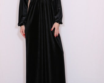 Black velvet dress Maxi dress Long sleeve dress Vneck dress Empire waist dress Custom dress