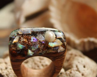 Abalone ring pearl Women wood ring resin wooden jewelry natural ring organic Beach wedding ring Christmas Lover ring Valentine gift fashion