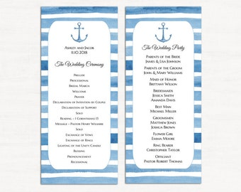 Nautical wedding program template Beach ceremony program printable Blue wedding Anchor program card diy Cruise wedding Destination W131
