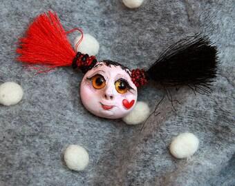 Miniature Doll Brooch Head, Gift Art Doll Miniature Jewelry, Doll Face Pin 1,18inch
