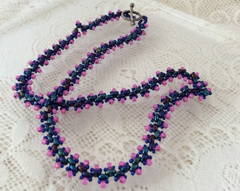 Blue and pink seed bead woven necklace