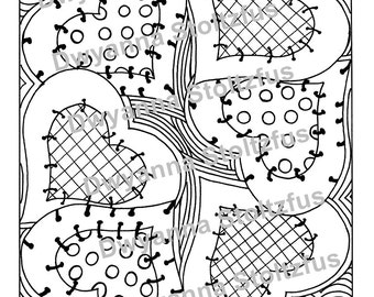 Country Hearts Coloring Page