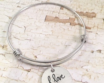 I love you Bracelet, Love bracelet, charm Bracelet, love charm, valentine gift, adjustable bangle, gift for her, valentines day jewelry