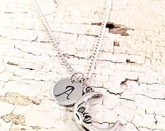 Moon necklace, crescent moon charm necklace, Initial necklace, To the moon necklace, charm necklace, silver moon, half moon, for her