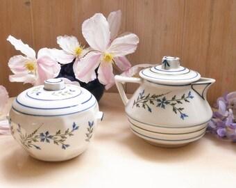 Antique french Little Tea Pot & Sugar Bowl forget-me-not / / old teapot and sugar bowl forget-me-not porcelain