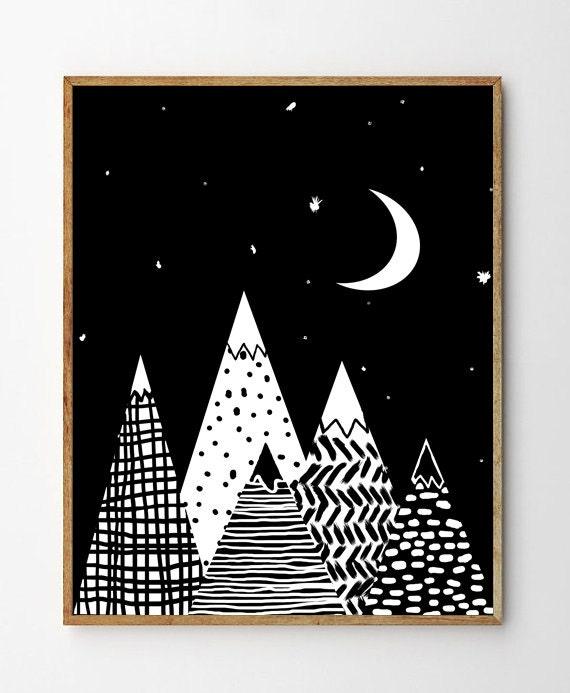 Kids Prints Scandinavian Mountains Print Black And White Wall