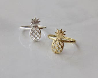 Pineapple Ring- Free shipping, Size 7, Gold or Silver
