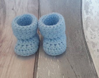 Baby Booties - Blue crochet baby shoes, handmade booties, blue baby shoes, newborn baby booties