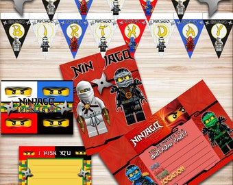 Lego Ninjago Birthday Party Kit, Ninjago Banner, Ninjago Invitations, Ninjago Party, Ninjago Wish Card, Ninjago Decorations, Ninjago Eyes