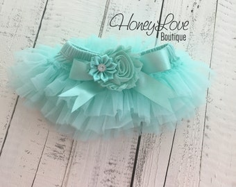Mint/Aqua tutu skirt bloomers diaper cover, embellished flower satin bow, ruffles all around, newborn infant toddler little baby girl