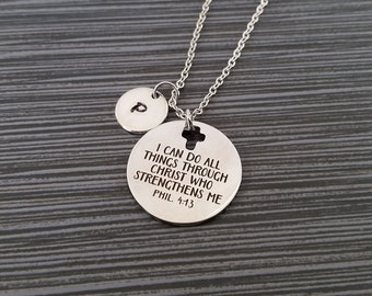 Philippians 4:13 Necklace - Phil 4 13 Necklace - Religious Necklace - I Can Do All Things - Cross Necklace - Christian Necklace Bible Verse