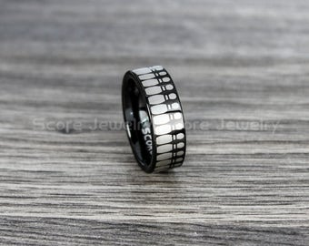 FREE SHIPPING FREE Custom Engraving 8mm Black Tungsten Band with Flat Edge Bowling Pins Pattern, Bowling Ring - 8mm Tungsten Wedding Ring