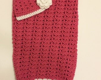 Crochet Baby Cocoon Set with beanie (Available Newborn - 12 months)