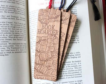 Wooden Book Hoarder Bookmark with tassel
