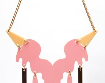 Laser cut Acrylic necklace plastic jewellery food accessories quirky perspex ladies