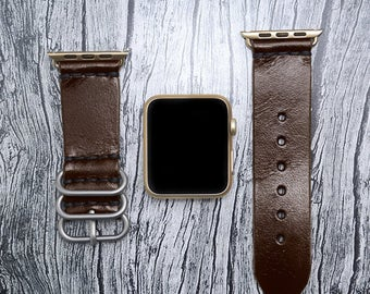 Brown Leather apple watch band 38mm / 42mm // apple watch accessories - leather apple watch strap - iwatch band leather - lugs adapter