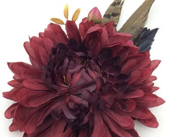 Handmade Wine Chrysanthemum & Pheasant Feather Hair Flower Clip / Fascinator