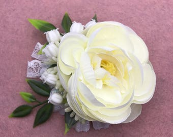 Handmade Ivory Peony & Lily Of The Valley Flower Clip / Brooch