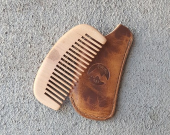 Beard Comb - Men's Comb - Leather Comb Cover - Made To Order - Handmade - Colorado - Pocket Comb - Horween Chromexcel - Free Shipping