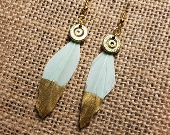 Handmade Bullet and Feather Earrings (White/Gold Dipped) for the Country Hunting Girl, Bullet Earrings