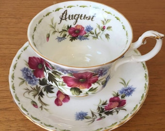 """Royal Albert """"Poppy"""" August Flower of the Month Series Vintage Teacup Saucer, Floral English China Tea Cup and Saucer, Poppies"""