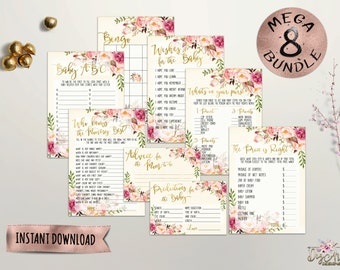 Printable Floral Baby Shower Game Bundle, Boho Chic Baby Games, Faux Gold Foil and Peonies Baby Shower 8 Games Pack, Digital Files