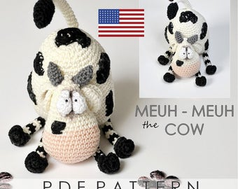 meuh-meuh the cow - ENGLISH PDF digital crochet pattern