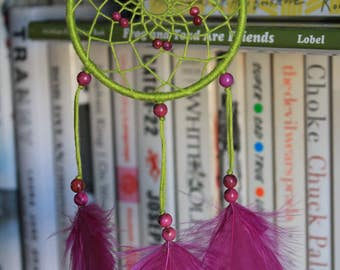 Lime green and pink crazy lace agate dreamcatcher