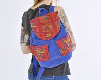 SALE! 30% OFF Native american Fabric Backpack, light rucksack, geometric pattern, fabric ruck sack, native american purse, navy fabric bag