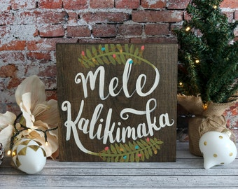 Mele Kalikimaka Hawaiian Christmas Hand Painted Wood Sign