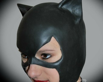 Catwoman rubber cowl with adjustable chin strap for cosplay, costume, or halloween - can be made in other colors