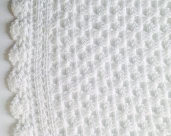 White Baby Blanket, White Crochet Baby Blanket,  Gift For Newborn, Baby Shower Gift, Pram Blanket, Cot Blanket, Crochet Baby Blanket