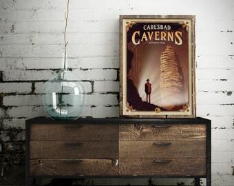 Carlsbad Caverns poster, Carlsbad Caverns National Park print, cave poster, Carlsbad Caverns gift poster, cavern poster, new mexico poster