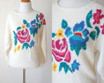 80s Floral Knit Grandma Sweater - Dolman Sleeves Slouchy Sweater - Floral Jumper - Baggy Batwing Pullover - Size Small/Medium