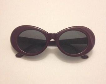 Mod Sunglasses , Retro Oval Sunglasses, Retrofuturism, Burgundy