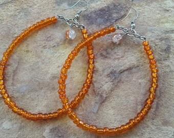 Hoop earrings oval earrings beaded jewellery handmade jewelry light earrings big hoops big hoop earrings orange silver hoops fashion hoops