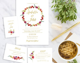 Wedding Invitation suite Printable Floral Wedding Invitation set  Wedding wreath Invitation kit download digital custom Invite idw9