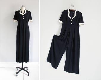 vintage wide leg jumpsuit / short sleeve jumpsuit with empire waist / 90s black & white jumpsuit / womens S - M