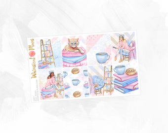 Cozy Full Boxes - Matte or Glossy Erin Condren Planner Stickers - Pink Blue Tan Kitten Cat Books Reading Coffee Shop