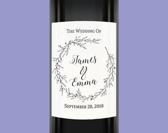 Wedding Wine Labels, Custom Wine Labels, Personalized Wine Bottle Labels, Wedding Label Stickers, Pack of Four #1