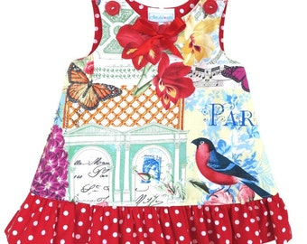 Baby Clothes, Baby girl dress, cotton baby dress, Frilled Toddler A- Line Dress, Red spot A-Line Dress  CUSTOM ORDERS AVAILABLE