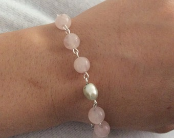 Pearl & Rose Quartz W. Sterling Silver .925 Bracelet Light Pink and Silver Pearl Beaded Bracelet Wholesale Pricing A291