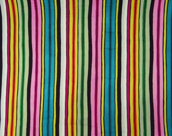 """Designer Fabric, Multicolor Stripe Print, Quilting Fabric, Home Decor, Dress Fabric, 41"""" Inch Cotton Fabric By The Yard ZBC7243A"""