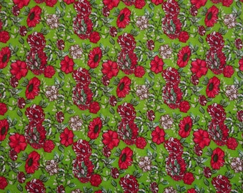 "Dressmaking Fabric, Floral Print, Decor Fabric, Green Fabric, Sewing Accessories, 44"" Inch Rayon Fabric By The Yard ZBR174B"