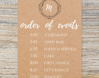 Rustic Order of Events Sign, Printable Order of Ceremony Sign, DIGITAL DOWNLOAD, Wedding Sign, Printable Wedding Sign