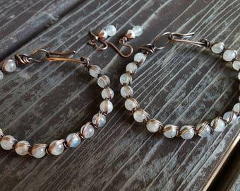 Rainbow Moonstone Bracelet, Copper Wire Wrapped Bracelet, Gemstone Bracelet, Oxidized Copper Bracelet,Moonstone Gemstone Bracelet,OrangeKnot