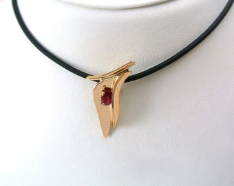 14k Yellow Gold Ruby Pendant - Gold and Ruby Necklace - Ruby Birthstone Pendant