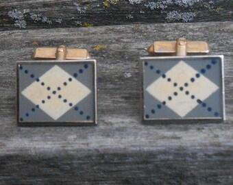 Vintage Argyle Cufflinks. Gift for Men, Dad, Groom, Groomsmen, Wedding, Anniversary, Birthday, Father's Day