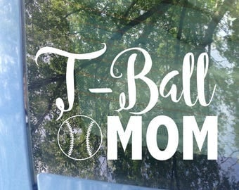 TBall Mom Decal | Sports Mom | T-Ball Decal | Baseball Mom Car Decal | TBall Mom Sticker | Sports Mom Decal | Mom Gift | Little League