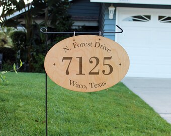 Personalized Wood Garden Flag, Custom Family Yard Sign, Address Yard Sign, Hanging Family Name Sign, Garden Yard Flag--hngw-oval-Waco Texas